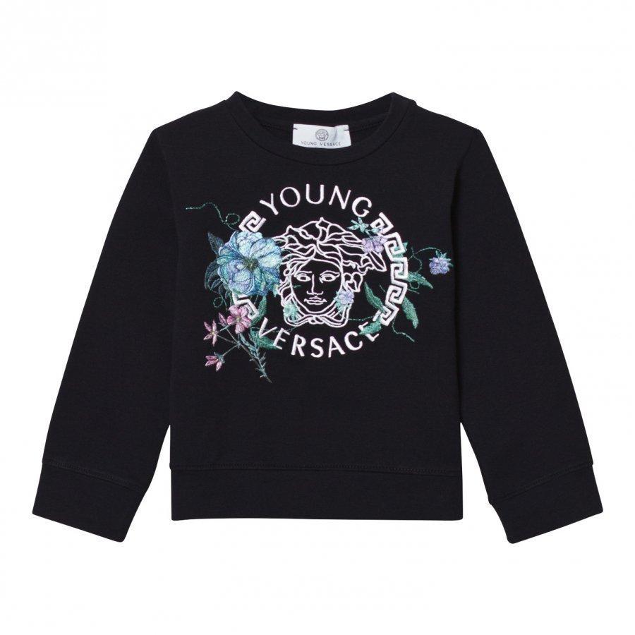 Young Versace Navy Medusa And Floral Embroidered Sweatshirt Oloasun Paita
