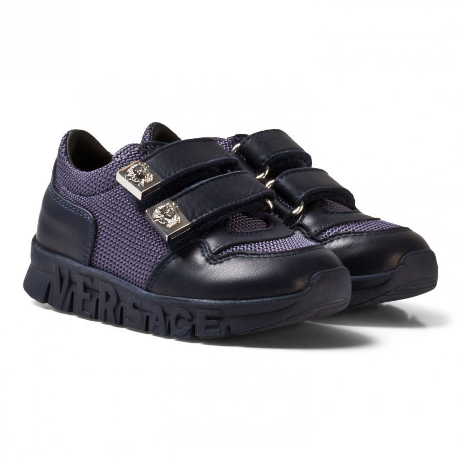 Young Versace Navy Mesh And Leather Trainers With Medusa Head Lenkkarit