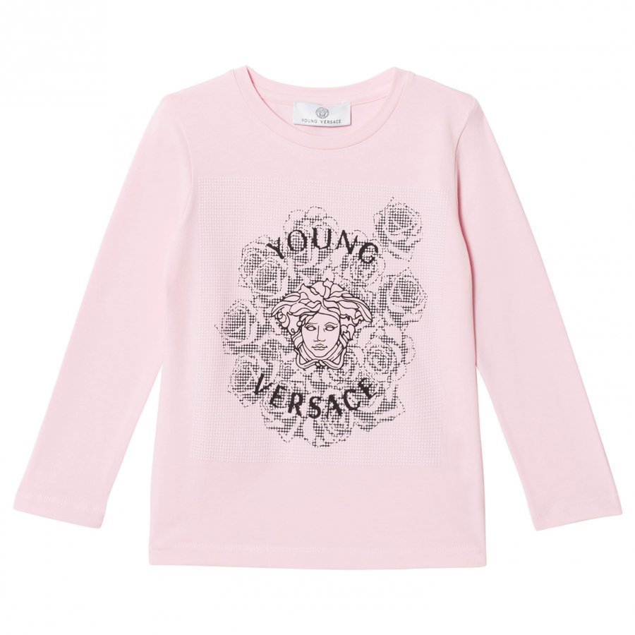 Young Versace Pink Medusa And Rose Studded Long Sleeve Tee Pitkähihainen T-Paita