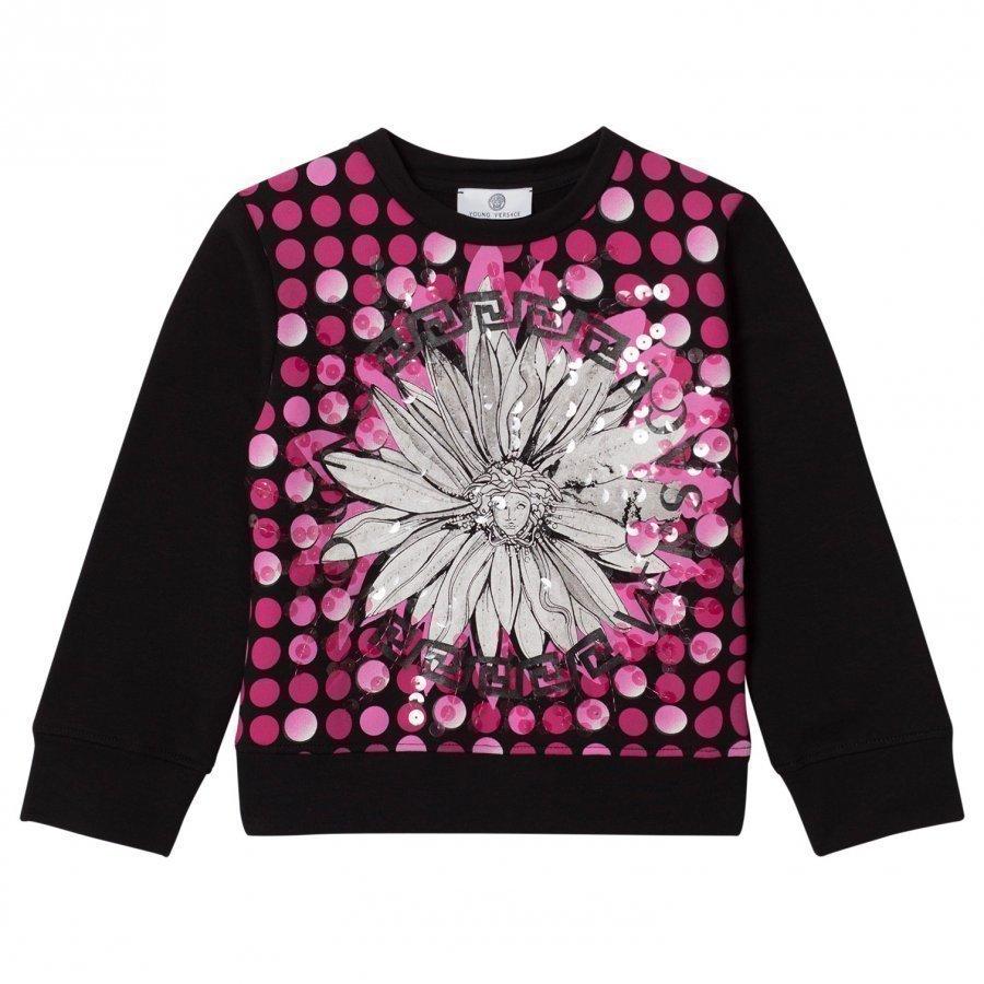 Young Versace Pink/Black Flower Medusa Sequin Sweatshirt Oloasun Paita