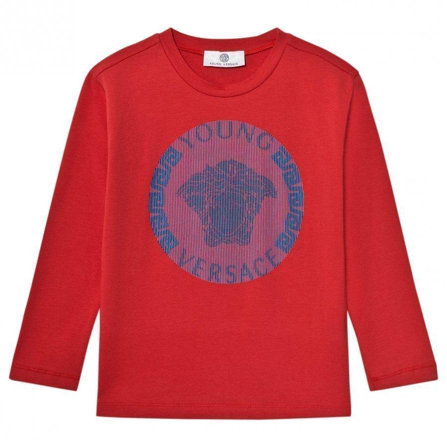 Young Versace Red Blue Medusa Long Sleeve Tee Pitkähihainen T-Paita