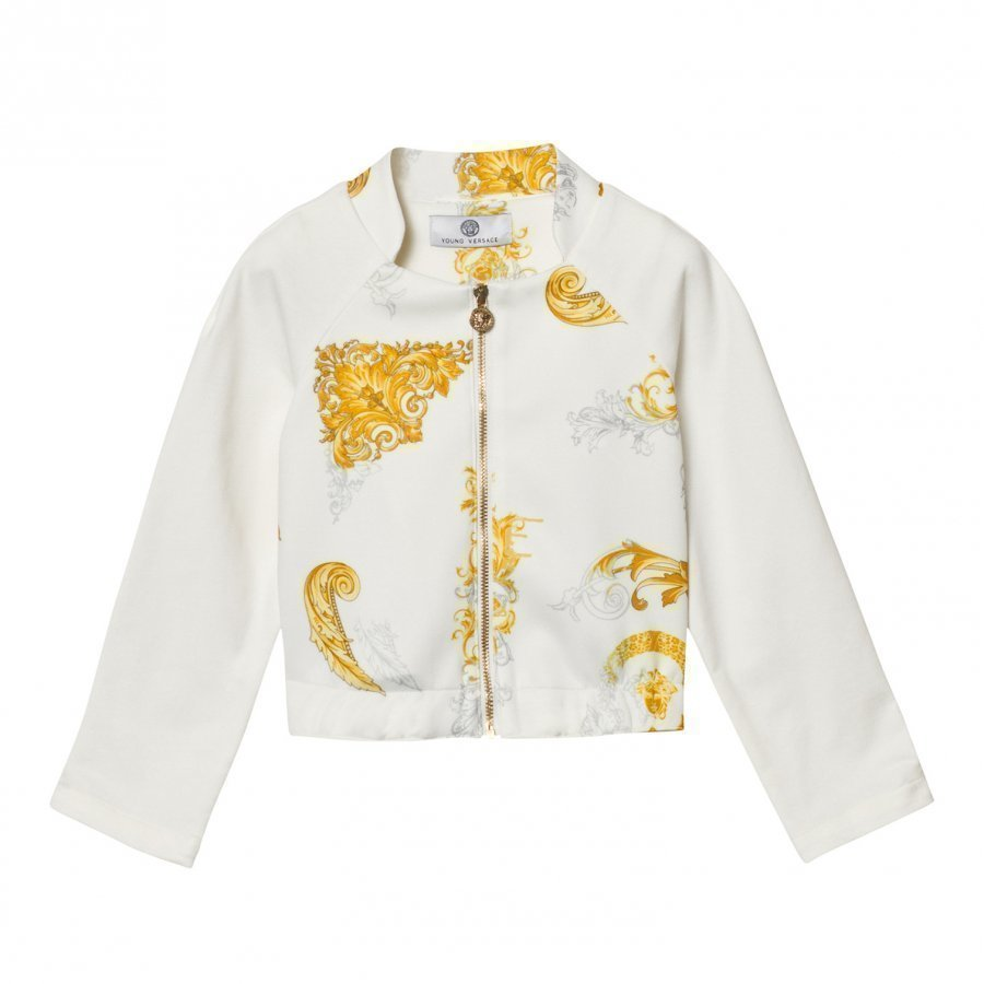 Young Versace White And Gold Baroque Print Bomber Jacket Bomber Takki