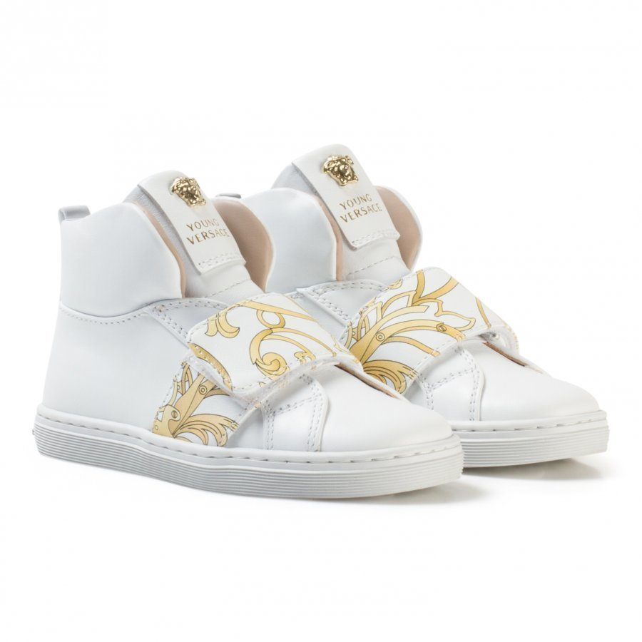 Young Versace White And Gold Baroque Print Medusa High Top Trainers Korkeavartiset Kengät