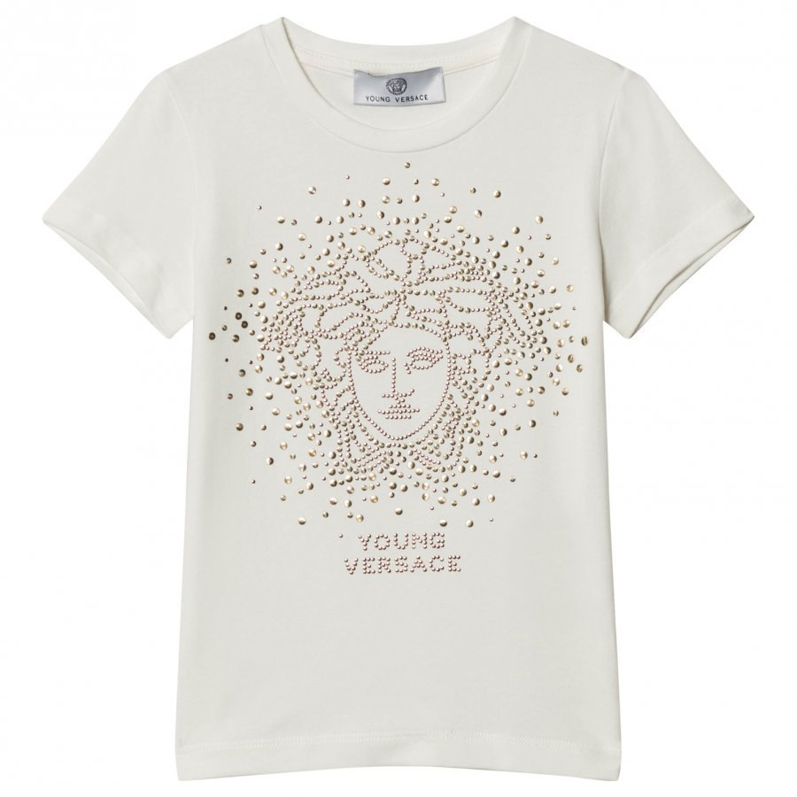 Young Versace White And Gold Stud Medusa Tee T-Paita