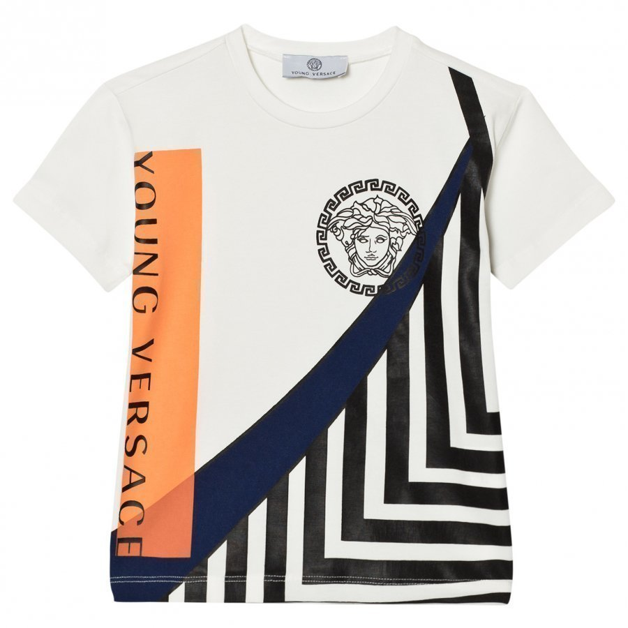 Young Versace White Medusa And Branded Graphic Tee T-Paita