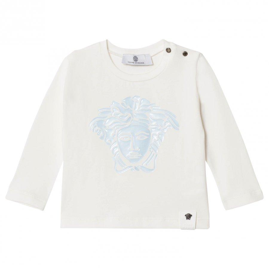 Young Versace White/Blue Gel Medusa Long Sleeve Tee Pitkähihainen T-Paita