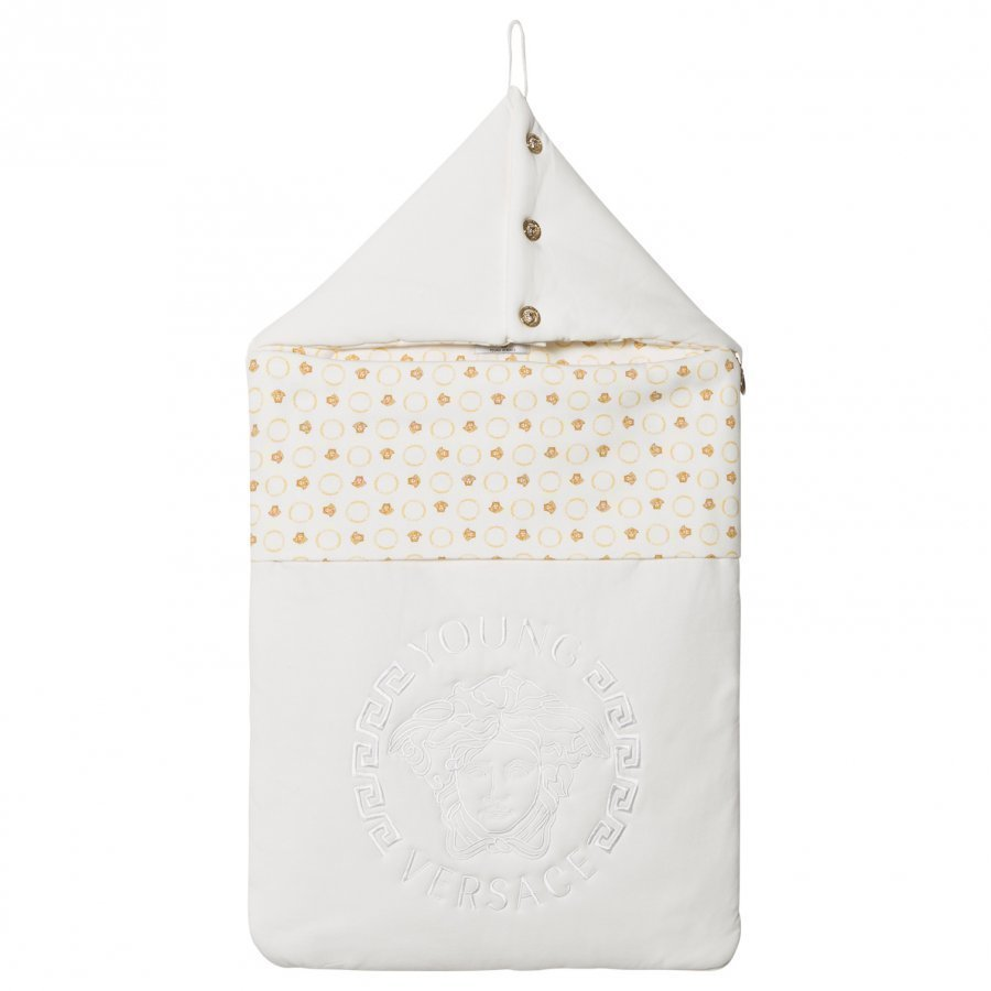 Young Versace White/Gold Medusa Print Nest Vauvan Makuupussi